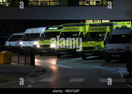 Line up of ambulance responder vehicles outside the accident & emergency department at Pinderfields Hospital in - Stock Photo