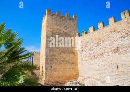 Medieval city walls,Alcudia,Mallorca,Balearic Islands,Spain - Stock Photo