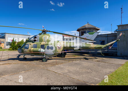 KETRZYN, POLAND - August 6, 2017: Old helicopter on the sports airfield in Ketrzyn Wilamowo, during the Air Show - Stock Photo