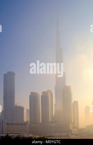 Skyline of central Dubai showing the Burj Khalifa - the world's tallest building - Stock Photo