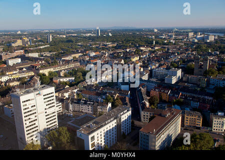 Germany, Cologne, view from the Triangle Tower to houses in the town district Deutz, on the left the LVR house. - Stock Photo