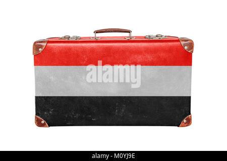 Vintage suitcase with Yemen flag - Stock Photo