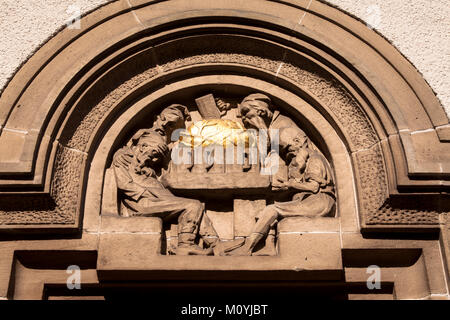 Germany, Cologne, pub 'Em golde Kappes' at the town district Nippes, relief at the outside facade.  Deutschland, - Stock Photo