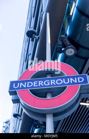 Tube sign in the City of London - Stock Photo