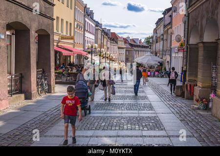 Staromiejska pedestrian street on the Old Town of Olsztyn city in Warmian-Masurian Voivodeship of Poland - Stock Photo