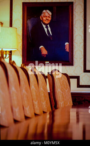 A portrait of John Amos - one of the three brothers who founded AFLAC, hangs in the AFLAC boardroom shortly after - Stock Photo