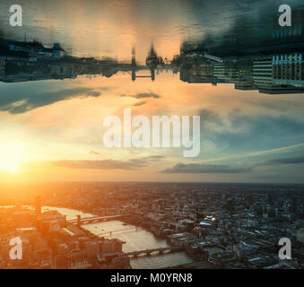 Sci-fi futuristic fantasy image of upside down city landscape - Stock Photo