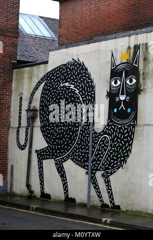 Graffiti pictured on buildings in Chichester, West Sussex, UK. - Stock Photo