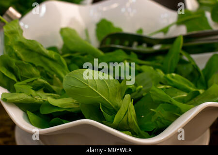 Fresh rucola leaves close-up in the white bowl - Stock Photo