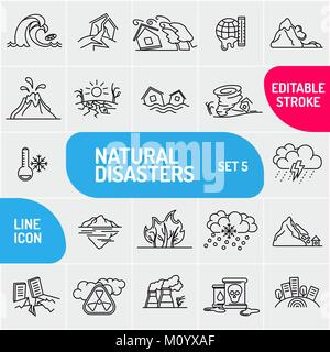 Modern thin line Natural disaster icons set. Premium quality outline symbol collection. Simple mono linear pictogram - Stock Photo