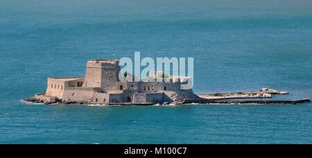 Overview of Bourtzi Island, a Venetian fortress once used as a prison, in the Argolic Gulf, Nafplio, Argolis, Peloponnese, - Stock Photo