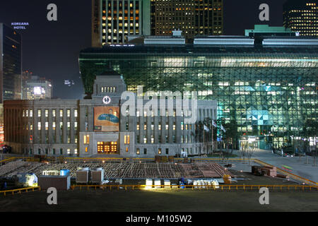South Korea: Seoul City Hall at night time | usage worldwide - Stock Photo