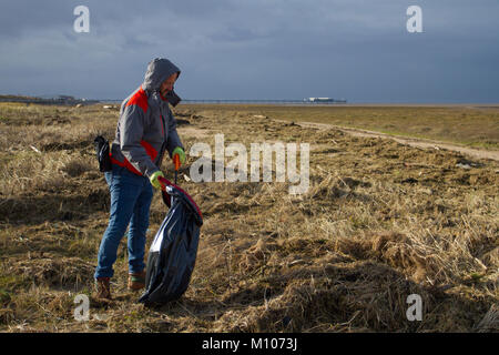 Southport, Merseyside. UK Weather. 25th January, 2018 Sunshine and showers.  A team of Viola Litter pickers on the - Stock Photo
