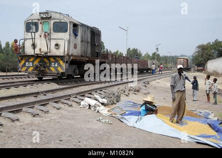 Akadi, Ethiopia. 09th Feb, 2008. Remembering the railway Djibouti - Ethiopia in Akadi railway station on 09.02.2008 - Stock Photo