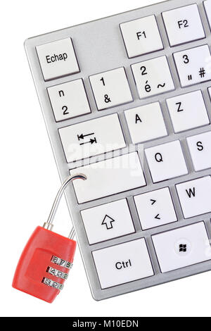 cyber security concept red padlock icon on digital background in 3dsymbolic image against computer addiction keybord with red padlock on white background stock photo