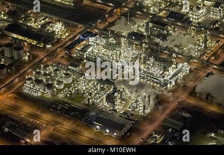Luftbild, Chemiepark Marl ehemals Chemische Werke Hüls AG in Marl, Evonik Industries, Nachtaufnahmen, Industrieanlage, - Stock Photo