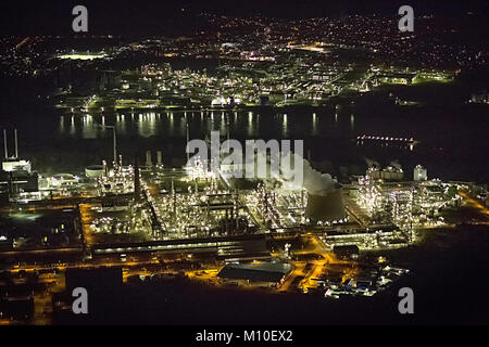Aerial view, Degussa at night Wesseling, Wesseling, Rhineland, Cologne, North Rhine-Westphalia, Germany, Europe, - Stock Photo