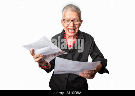 Enraged granny yelling at electricity company - Stock Photo