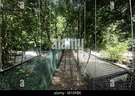 Suspended bridge over the river at Tabin Wildlife Resort, Sabah, Borneo, Malaysia - Stock Photo