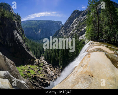 Aerial view from the top of the Upper Yosemite Fall in Yosemite National Park, California - Stock Photo