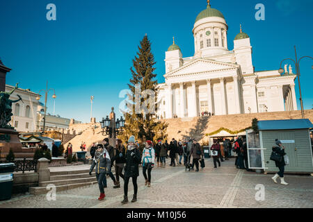 Helsinki, Finland - December 11, 2016: People Walking Near Christmas Tree On Senate Square With Famous Lutheran - Stock Photo