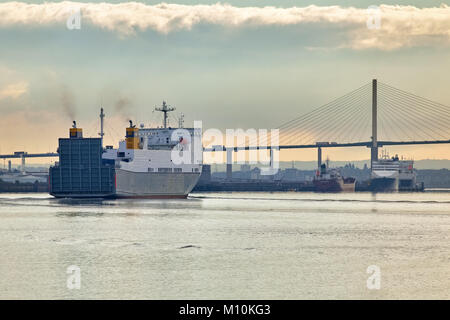 The ship 'Celestine' leaving London, approaching the Dartford Bridge in the early morning. Photographed from the - Stock Photo