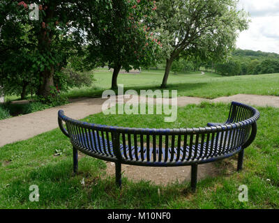Park bench in Roundhay Park, Leeds, West Yorkshire, England, UK - Stock Photo
