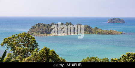 Thailand, The island Koh Chang, panoramic coast view, palms and rainforest plants, hills and blue sea. Nature in - Stock Photo