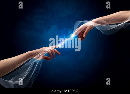 Two male arms reaching for each other, with a smoking electric current connecting their fingers in empty space background - Stock Photo