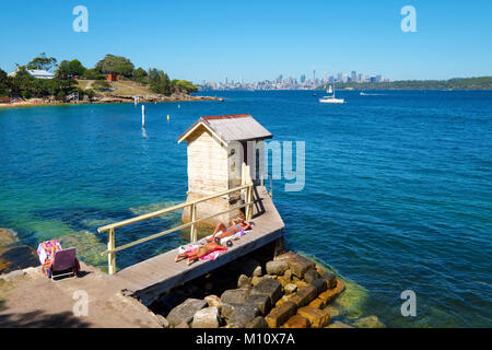 Camp Cove Beach on a hot summer day, South Head Reserve, Watsons Bay, Sydney, Australia. - Stock Photo
