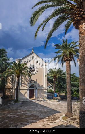 Catholic Church of Saint Jerome on Mica Pavlovica Square on the Old Town of Herceg Novi city on the Adriatic Sea - Stock Photo