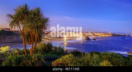 Panoramic view of Biarrtiz city, Bay of Biscay, Pyrenees mountains on the Atlantic coast, Basque Country, France - Stock Photo