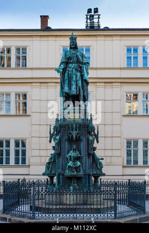 Statue of Charles IV in Prague, Czech Republic - Stock Photo