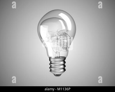 Skull inside Lightbulb - health or death and disease over grey - Stock Photo