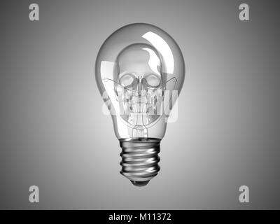 Spooky Skull inside Lightbulb - death and disease. Over grey - Stock Photo