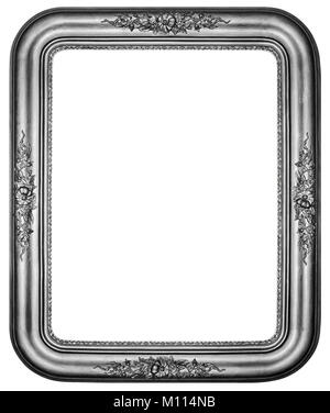 Oval Vintage silver plated wooden frame Isolated with Clipping Path - Stock Photo