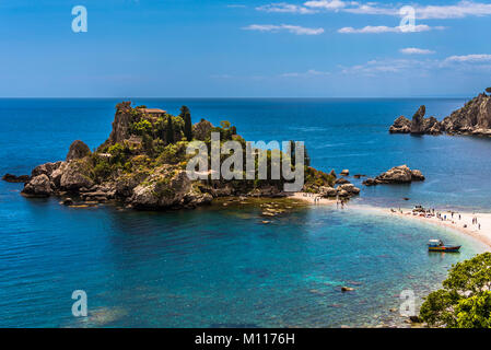 Isola Bella Nature Reserve - also known as the 'Pearl of the Mediterranean sea', is position at the coast of Taormina, - Stock Photo