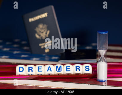 Dreamers concept using spelling letters on and hourglass - Stock Photo