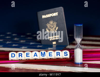 Dreamers concept using spelling letters and hourglass - Stock Photo