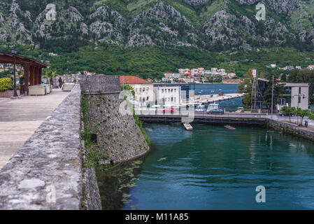 Kampana Tower, part of walls of Old Town in Kotor coastal city, located in Bay of Kotor of Adriatic Sea, Montenegro - Stock Photo
