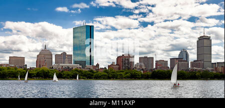 Panoramic view of the Boston skyline, waterfront and historic Bay Bay neighborhood seen from the Charles River. - Stock Photo