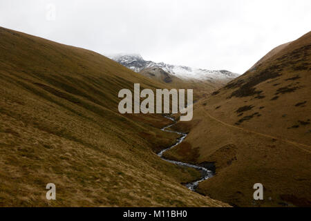 View up River Glenderamackin to Sharp Edge, Blencathra, Lake District, Cumbria, England, UK