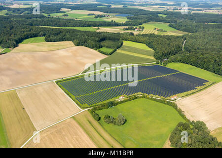 Aerial view of filed with solar panels, Türkenfeld,  Bavaria, Germany - Stock Photo
