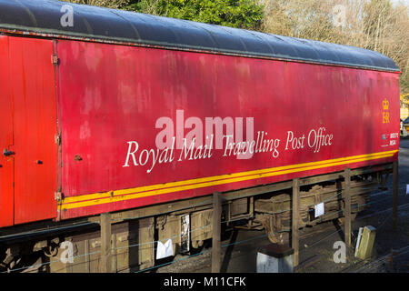 Royal Mail Travelling Post Office wagon at the Gwili Steam Railway attraction at Bronwydd Arms, Carmarthen, Carmarthenshire, - Stock Photo