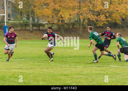 Kent University students at Canterbury competing in a rugby union match. against another university. - Stock Photo