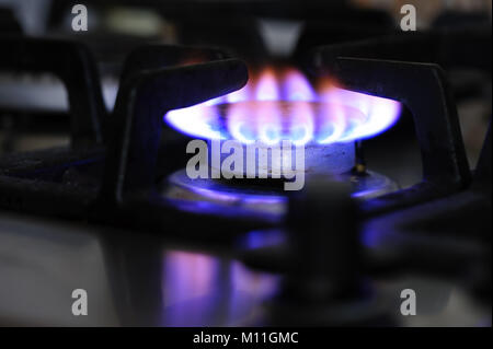 gas stove burner closeup - Stock Photo