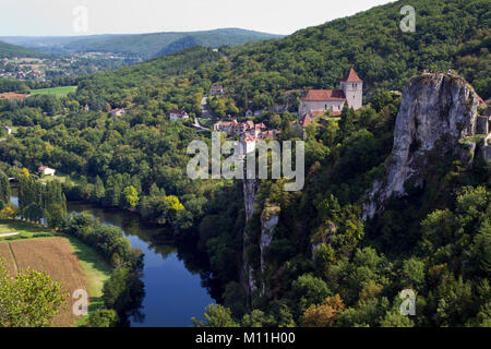 View of historic St Cirq Lapopie and the River Lot,The Lot, Midi Pyrenees, France, Europe - Stock Photo
