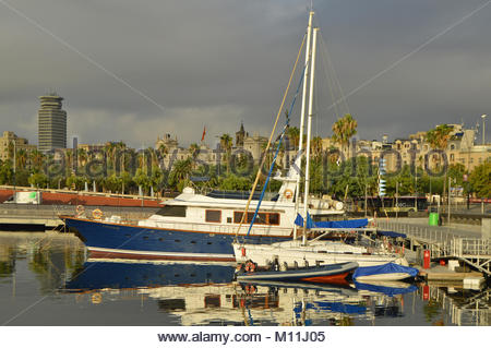 Boats yachts in Port Vell, Ciutat Vella Barcelona Spain Europe - Stock Photo