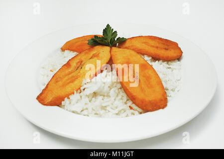 rice and banana american latin food mexican food - Stock Photo