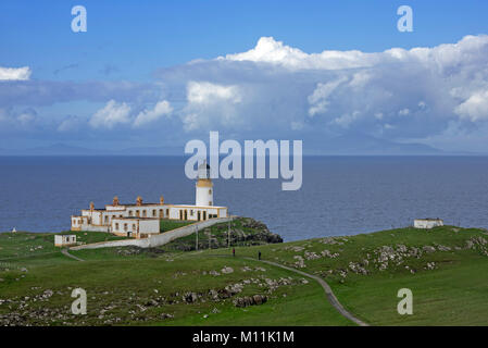 Neist Point Lighthouse on the Isle of Skye, Inner Hebrides, Scottish Highlands, Scotland, UK - Stock Photo